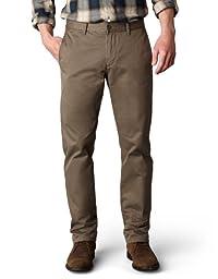 Dockers Men\'s Alpha Khaki Slim Flat-Front Pant,Dark Pebble ,34x32