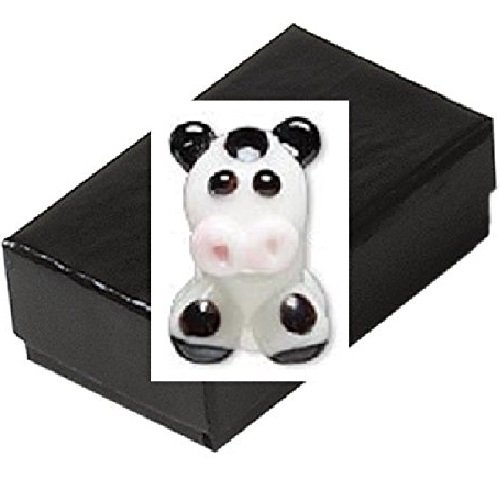 Gift Boxed Lampwork Glass Cow Bead Animal Jewelry Pandora Troll Compatible front-729194