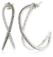 "Judith Jack ""Classics"" Sterling Silver, Marcasite, Crystal Small Criss Hoop Earrings by Judith Jack"