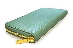 M&C - Rosebud Design Zip Around Women\'s Wallet in Aqua, One Size - WA1020
