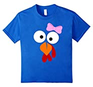 Turkey Face Girl Pink Bow T Shirt - Funny Thanksgiving Tee