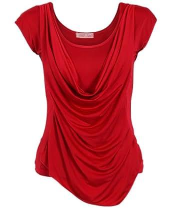 Col plissé KRISP basses Embrasse Maillot sans manches en soie pour soirée 3540 (rouge, 8)