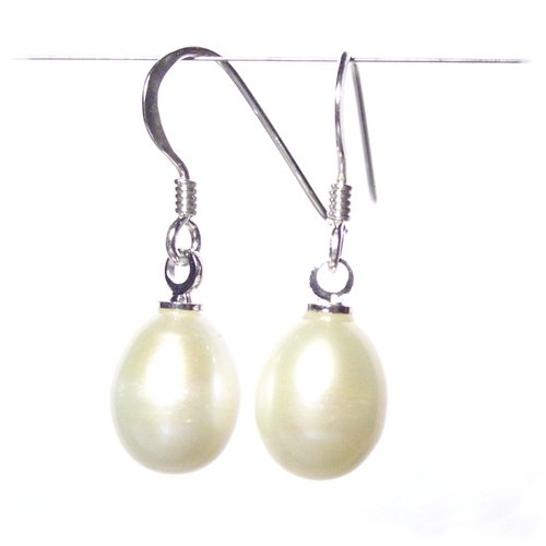 Large Freshwater Pearls on Sterling Silver Fishhooks Pearl Drop Earrings with Gift Box by pewterhooter. Made in England. Beautiful jewellery for very special people.