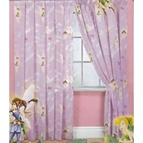 Kids/Childrens Disney Tinkerbell Fairies Fantasy Curtains with Tie Backs