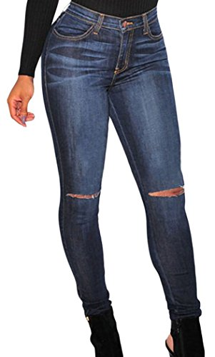 PEGGYNCO Womens Dark Denim Ripped Knee Skinny Jeans Size M
