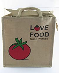 Classy Style Love Food Hate Waste Jute Shopping/lunch Bag