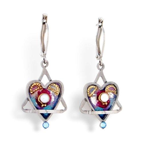 Star & Heart Judaic Earrings from the Artazia Collection #458 JE HEA