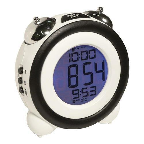 Atomic Glowing Blue LCD Dual Bell Alarm Clock - Decorative Bedroom Timepiece