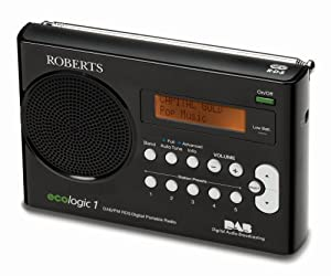 Roberts ECO1BK Ecologic 1 DAB/FM RDS Digital Radio with Built-in Battery Charger - Black