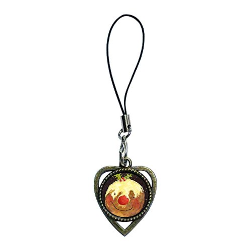 Giftjewelryshop Ancient Bronze Retro Style Thanksgiving Turkey Knife Fork Photo Heart Shaped Strap Hanging Chain For Phone Cell Phone Charms