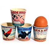 Martin Wiscombe Stoneware Farmers Market Egg Cups, Set of 4, Assorted