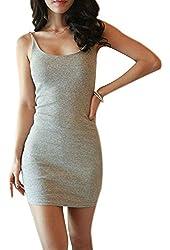Weixinbuy Women's Cotton Solid Bodycon Strap Base Club Mini Dress
