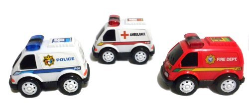 Set of 3 Rescue Vehicles Toy Cars Friction Powered Police Ambulance Fire Dept. - 1