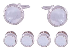 Tuxedo Cufflinks and Studs Set - White Pearl with Stainless Steel Trimming