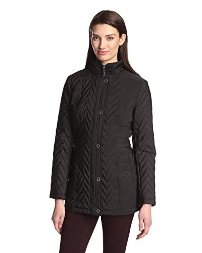 Anne Klein Women's Snap Front Quilted Jacket  [Black]