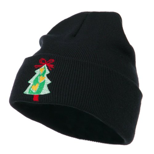 Christmas Tree Hearts Bow Embroidered Beanie at Amazon.com