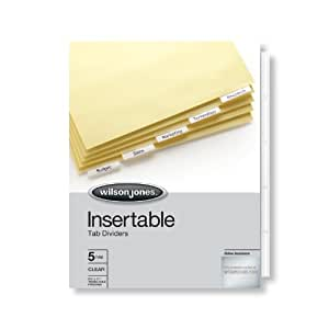 Wilson Jones Insertable Tab Dividers, 5-Tab Set, Clear Tabs (W54310A)