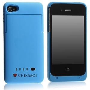 Chromo Inc. iPhone 4 4S Battery Case 1900mAh Ultra Slim Blue, Bonus Screen Protector