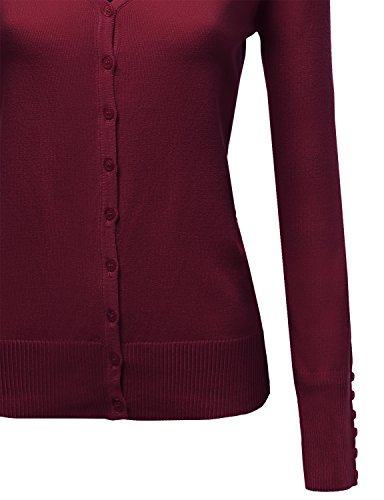 Basic Solid V Neck Sweater Cardigans Burgundy Size XL