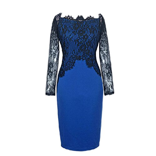 Aokdis Sexy Off Shoulder Women Patchwork Party Penicl Summer Prom Dress (M, Blue)