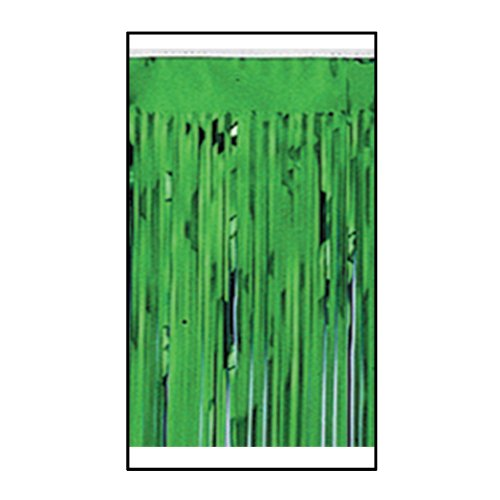Pkgd 1-Ply FR Metallic Fringe Drape (green) Party Accessory  (1 count) (1/Pkg)