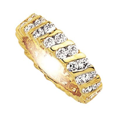 18K Gold Plated Clear Cubic Zirconia Eternity Wedding Band Ring - Size 9