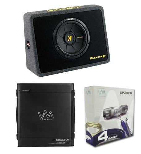 "Kicker Tcomps 40Tcws104 10"" 600W Car Loaded Subwoofer Sub+Box+Amplifier+Amp Kit"