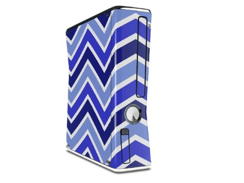 Zig Zag Blues Decal Style Skin for XBOX 360 Slim Vertical microsoft xbox 360 hd dvd skin new ice blue system skins faceplate decal mod