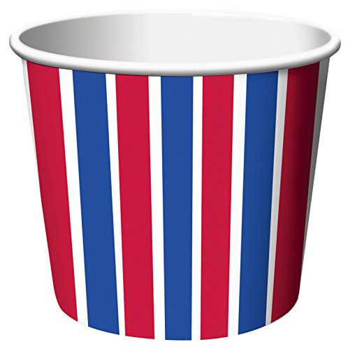 Creative Converting 6 Count Treat Cups, Red, White and Blue Stripe - 1