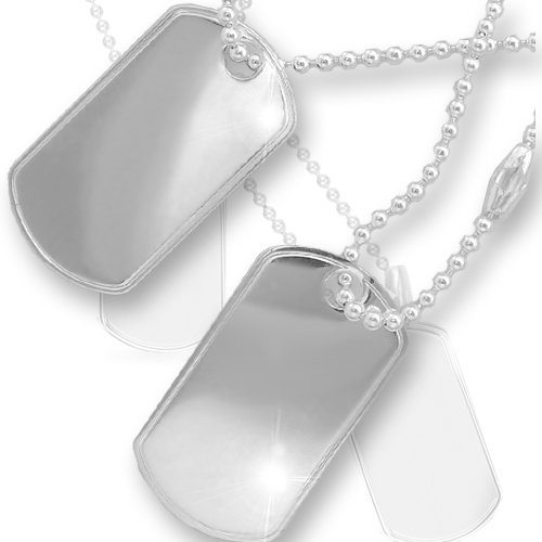 Jewelco London Sterling Silver solid military style Dog Tag with 20