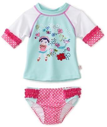 Floatimini Baby-Girls Infant Reesy Chelly Rashguard Swimwear, Aqua/Multi-Colored, 12-18 Months