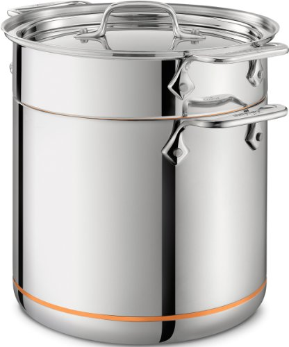 All-Clad 6807 SS Copper Core 5-Ply Bonded Dishwasher Safe Pasta Pentola / Cookware, 7-Quart, Silver