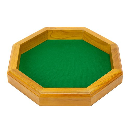 Buy 12 Inch Octagonal Wooden Dice Tray with Felt Lined Rolling Surface by Wiz Dice