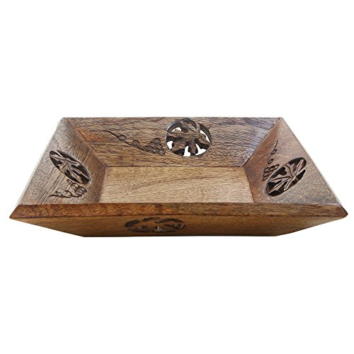 Wooden Serving Tray Hand Carved with Mango wood & Iron Rods