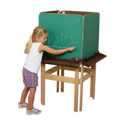 4 Sided Adjustable Easel with Chalkboard & Brown Trays