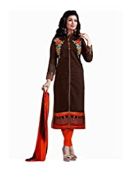 Original Original Mastani Kreation Brown Chanderi Embroidery Unstitched Dress Material