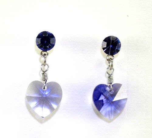 Swarovski Crystal Heart Stud Dangle Earring Rodium -Tanzanite 10mm