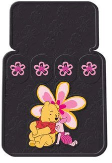 Set of 4 Universal-Fit Front and Rear Rubber Floor Mats - Winnie the Pooh and Piglet in Paradise