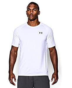 Men's UA TechTM Shortsleeve T-Shirt Tops by Under Armour (White/Black, Medium)