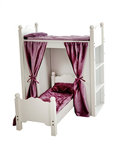 "Fits American Girl Doll Loft Bunk Bed Furniture With Shelves & Storage | 18"" Inch Dolls 