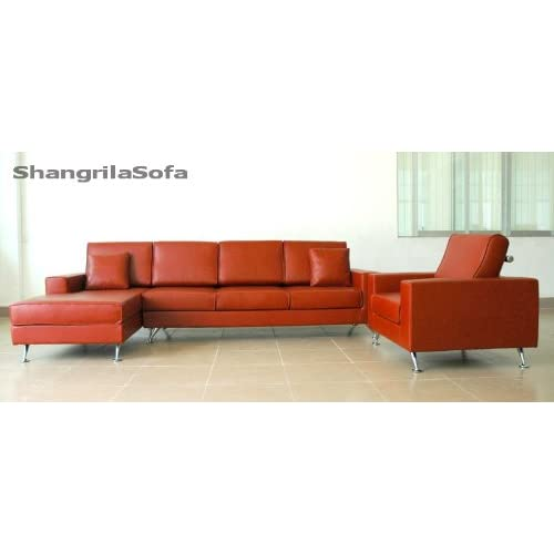 Red Brown Leather Sofa Chaise And Chair Set