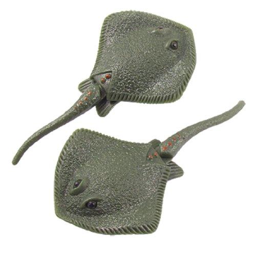 Jardin Plastic Aquarium Manmade Stingray Fish Ornament, 2-Piece