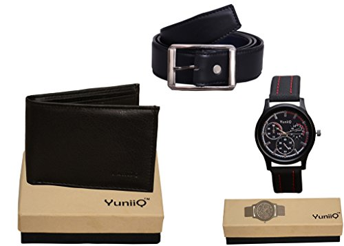 Combo Pack Of YunniQ Black Wallet With Black Belt With Black Color Chronograph Wrist Watch.
