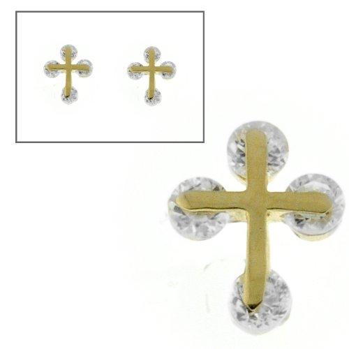 10KT Gold CZ Cross Earrings