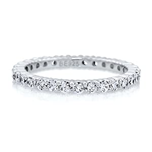 Clear Cubic Zirconia CZ Sterling Silver Eternity Band Ring 2mm - Nickel Free Engagement Wedding Band Ring Size 5