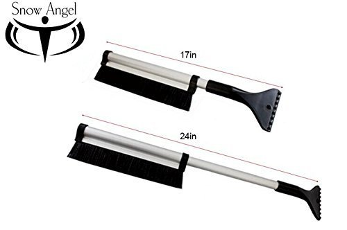 Extendable Telescoping Snow Brush - Ice Scraper for Car, Retracts From 24