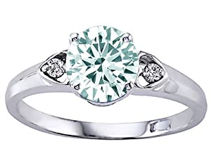 Tommaso Design(tm) Round Genuine Aquamarine and Diamond Engagement Ring in 10 kt White Gold Size 8