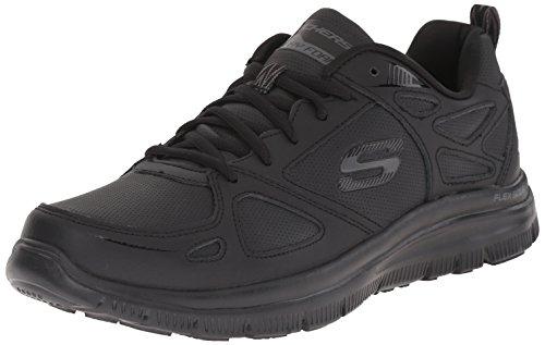 Scarpe Skechers Sport per uomo in pelle e sintetico nero con memory foam (Taglia 44)