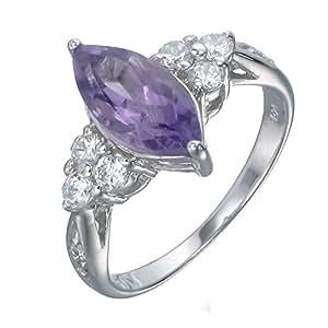 Vir Jewels, Bague Femme Argent fin 925/1000 Violet Amethyste 1.2 Karat, T 52