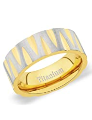 8 Mm Peora Titanium IP Gold Plated Diamond Cut Edges And Brush Finish Band Ring For Men (TR198)
